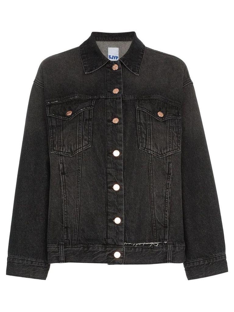 SJYP oversized distressed denim jacket - Black