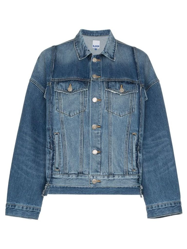 SJYP oversized panelled denim jacket - Blue