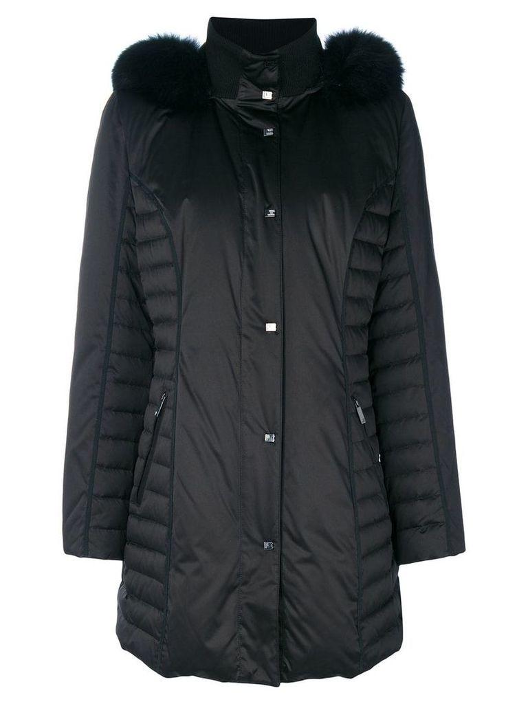 Guy Laroche fur-trimmed padded coat - Black