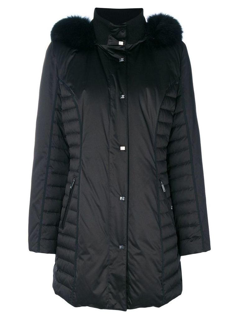 Guy Laroche fur-trimmed padded coat - Black