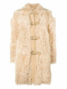Red Valentino fur duffle coat - Neutrals