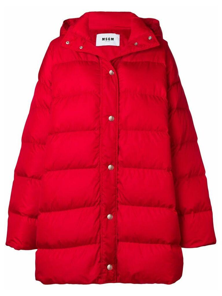 MSGM logo print puffer jacket - Red