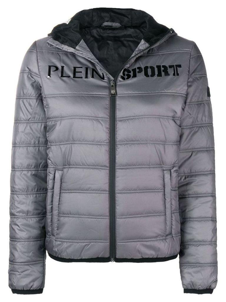 Plein Sport logo print padded jacket - Grey