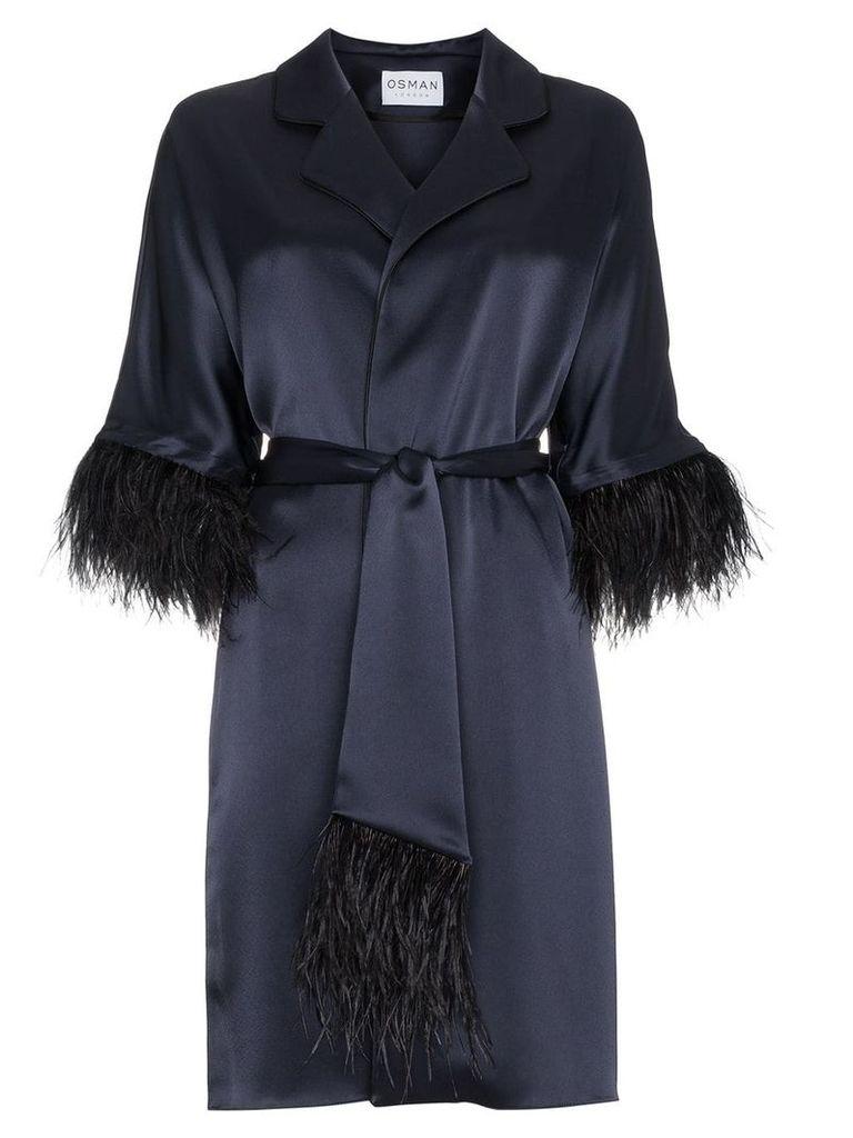 Osman Eve Ostrich Feather Trimmed Kimono - Blue