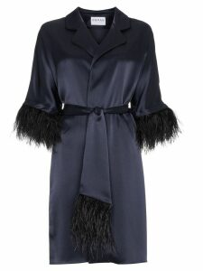 Osman Eve Ostrich Feather Trimmed Kimono - Blue