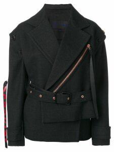 Proenza Schouler Belted Asymmetrical Logo Pull Coat - Grey