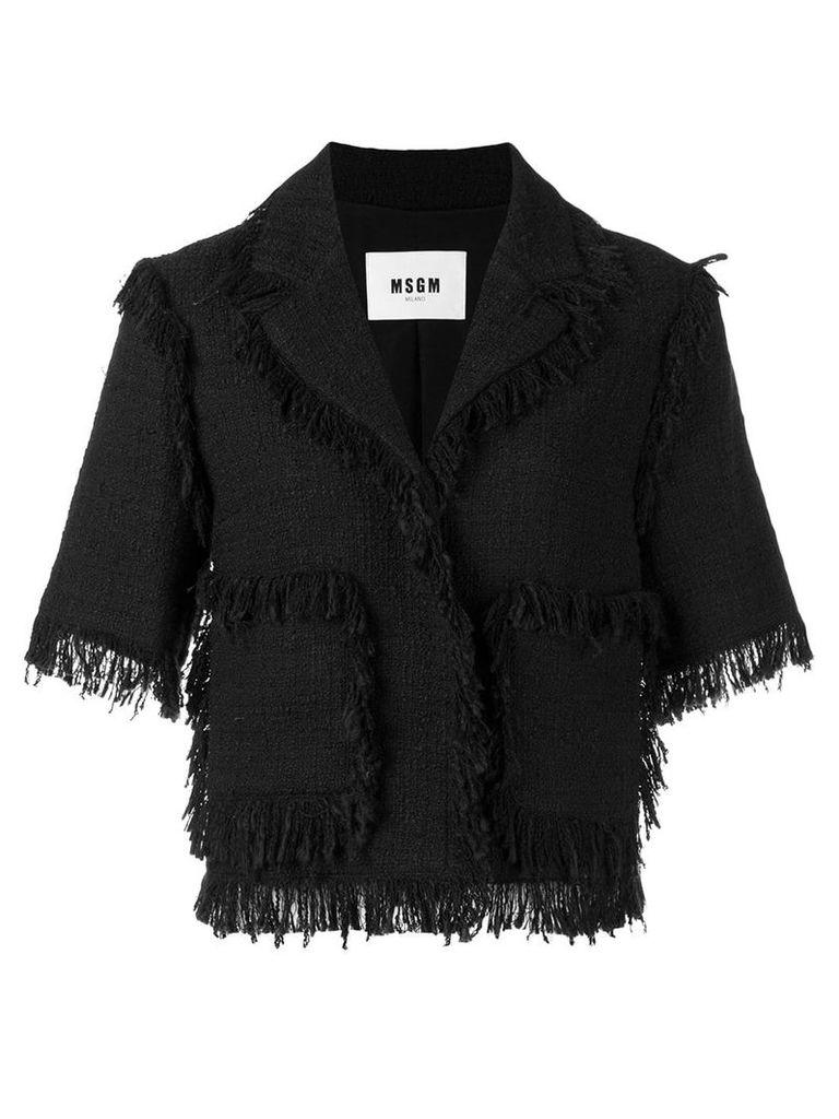MSGM fringed short-sleeve jacket - Black