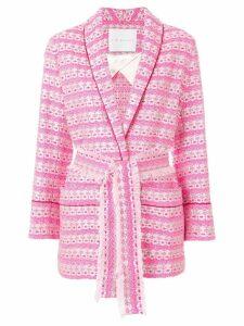 Giada Benincasa belted jacquard blazer - Pink