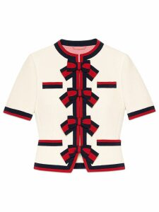 Gucci Wool jacket with Web bows - White