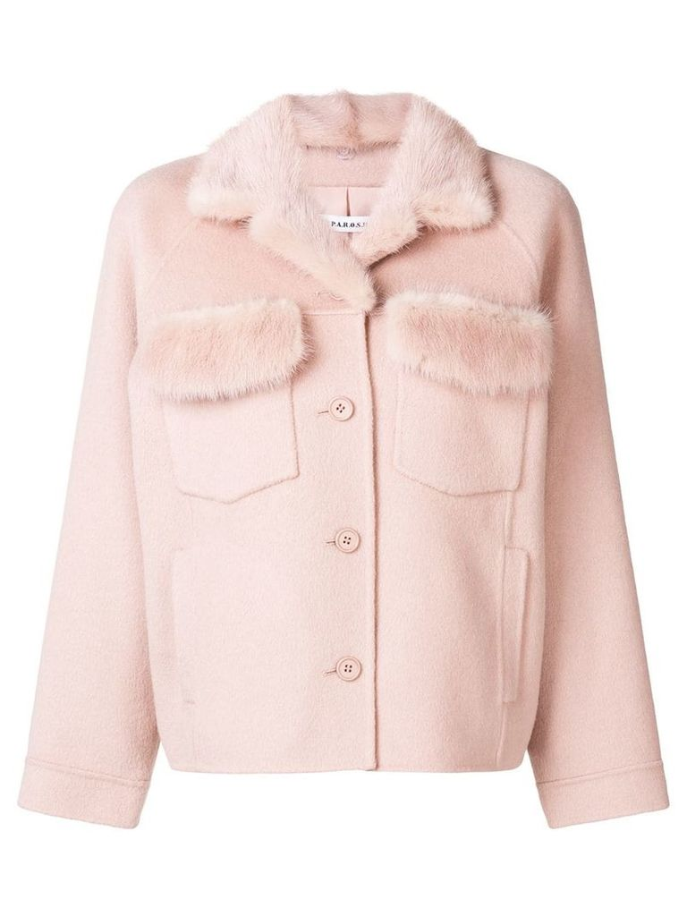 P.A.R.O.S.H. fur detail buttoned jacket - Pink