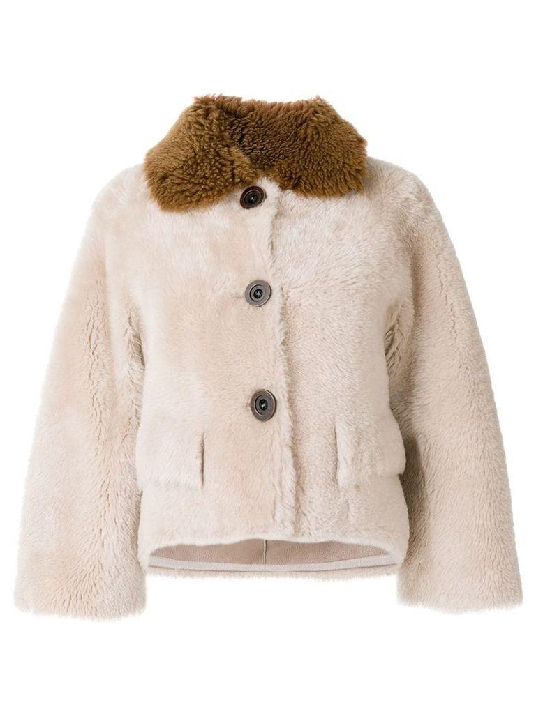 Liska contrast collar cropped jacket - Neutrals