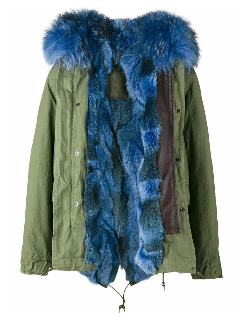 Mr & Mrs Italy short green blue fur lined parka