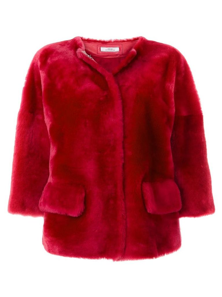Desa 1972 fur cropped sleeve jacket - Pink