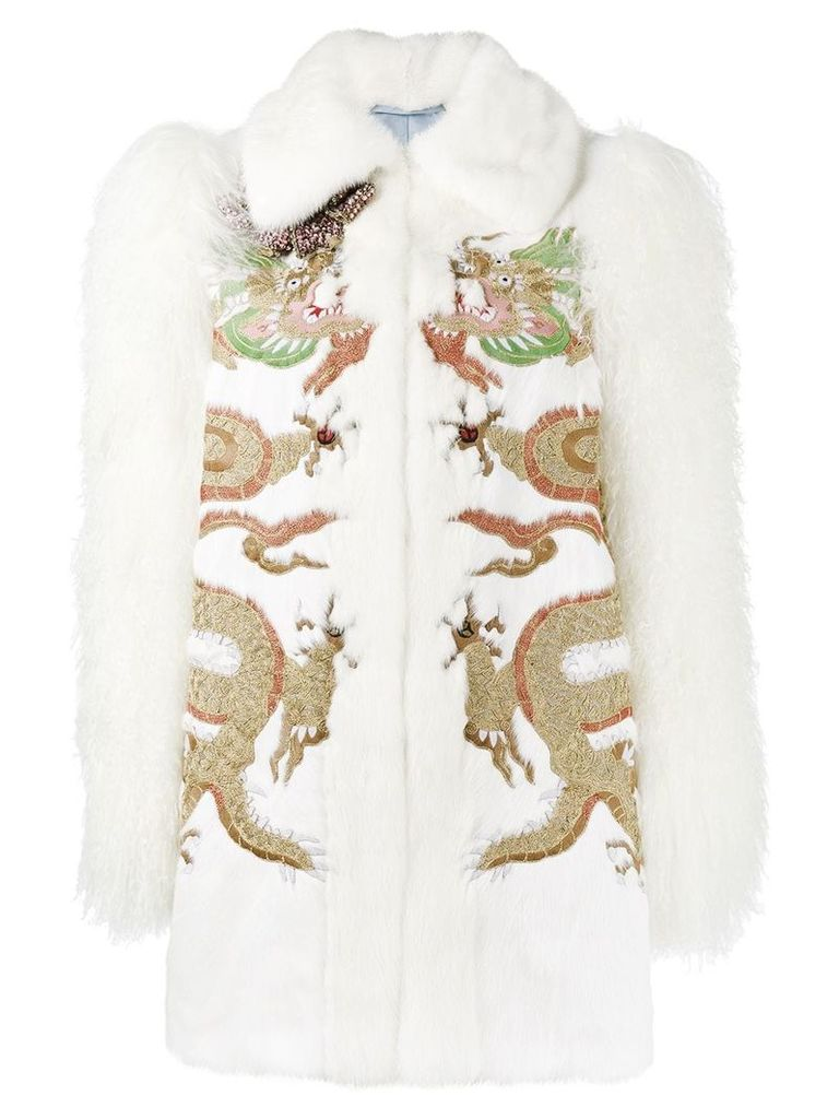 Gucci embroidered fur jacket - White