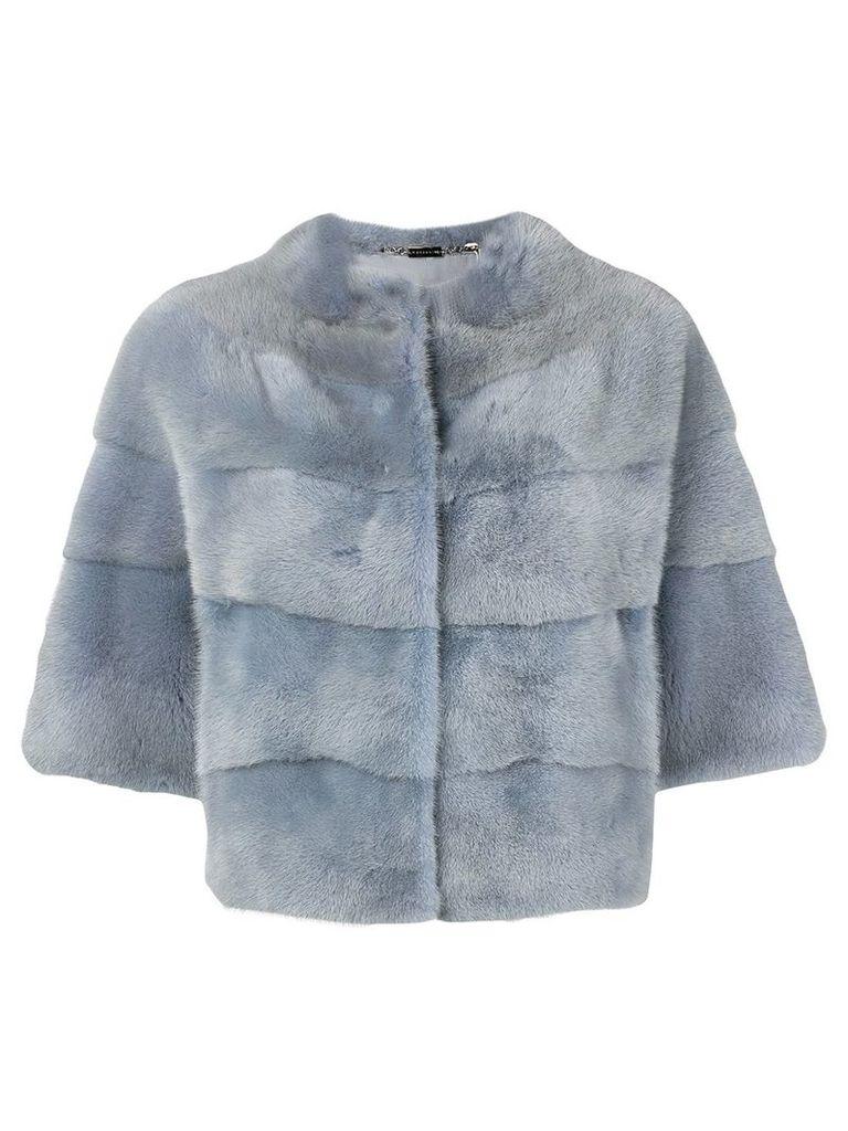 Manzoni 24 short-sleeve fur jacket - Blue