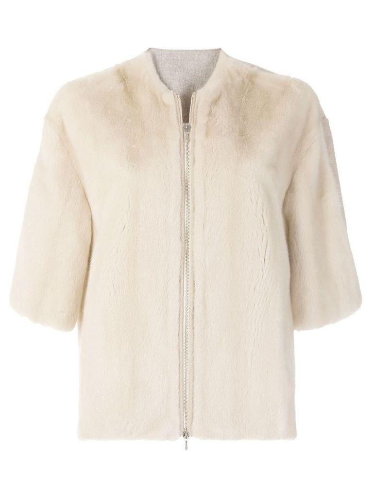 Liska zipped mink jacket - Neutrals