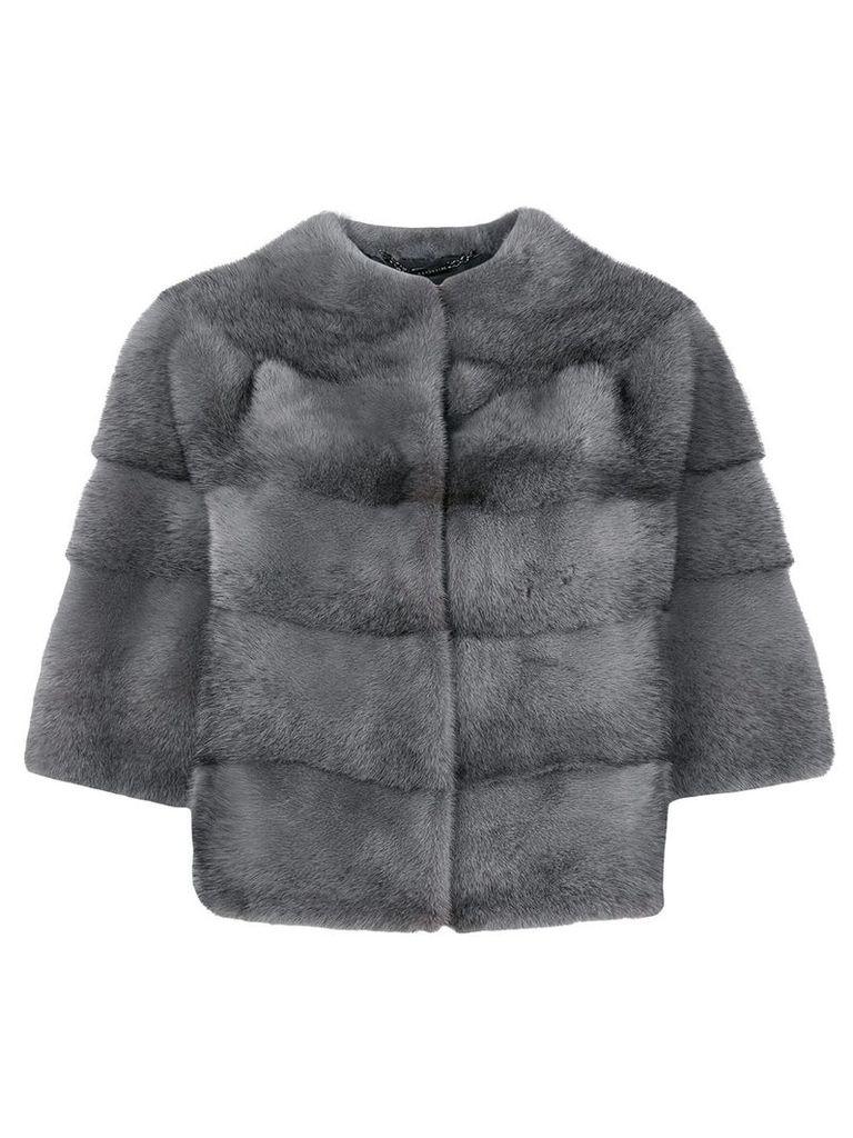 Manzoni 24 short-sleeve fur jacket - Grey