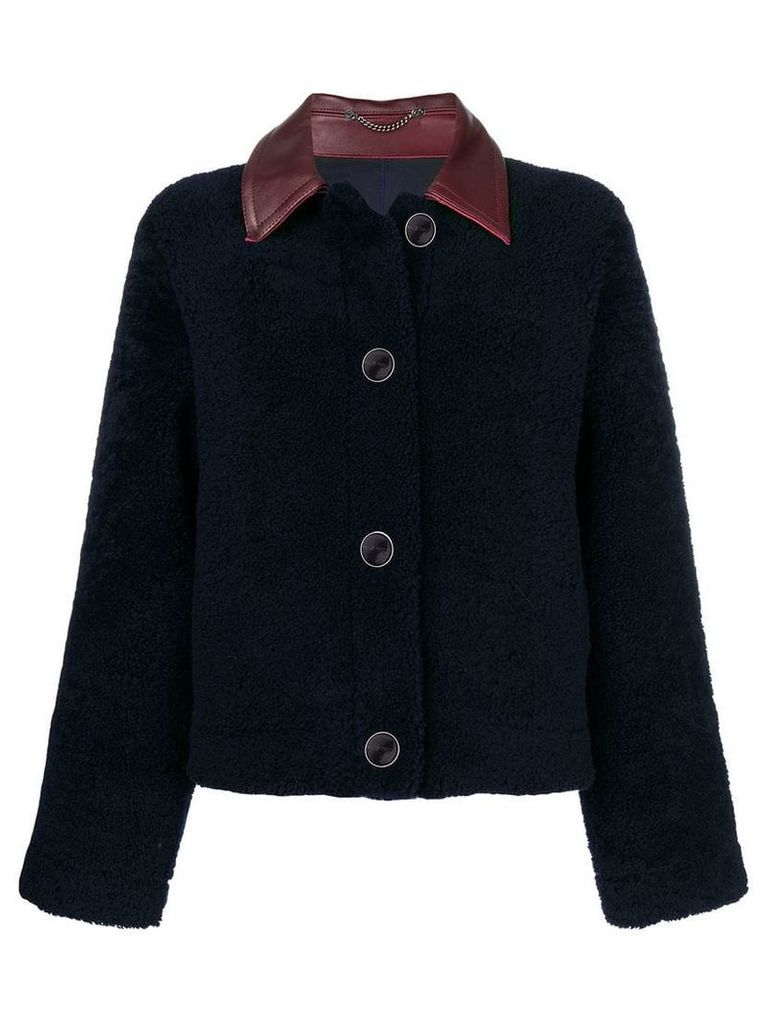 Victoria Beckham collar fur jacket - Blue
