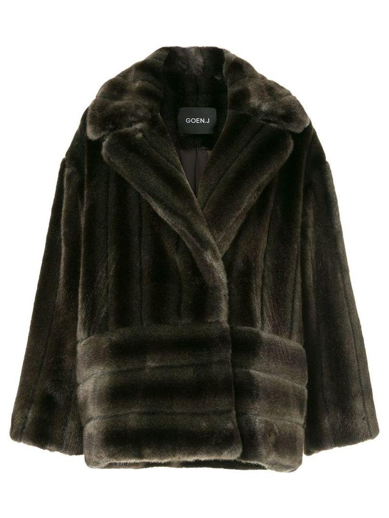Goen.J buttoned faux-fur jacket - Brown