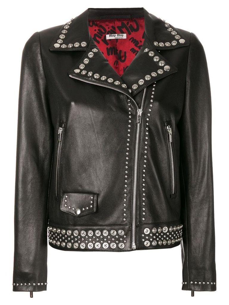 Miu Miu studded leather jacket - Black