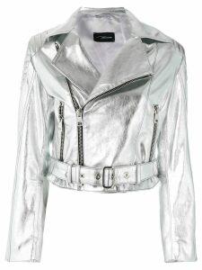 Manokhi leather biker jacket - Metallic