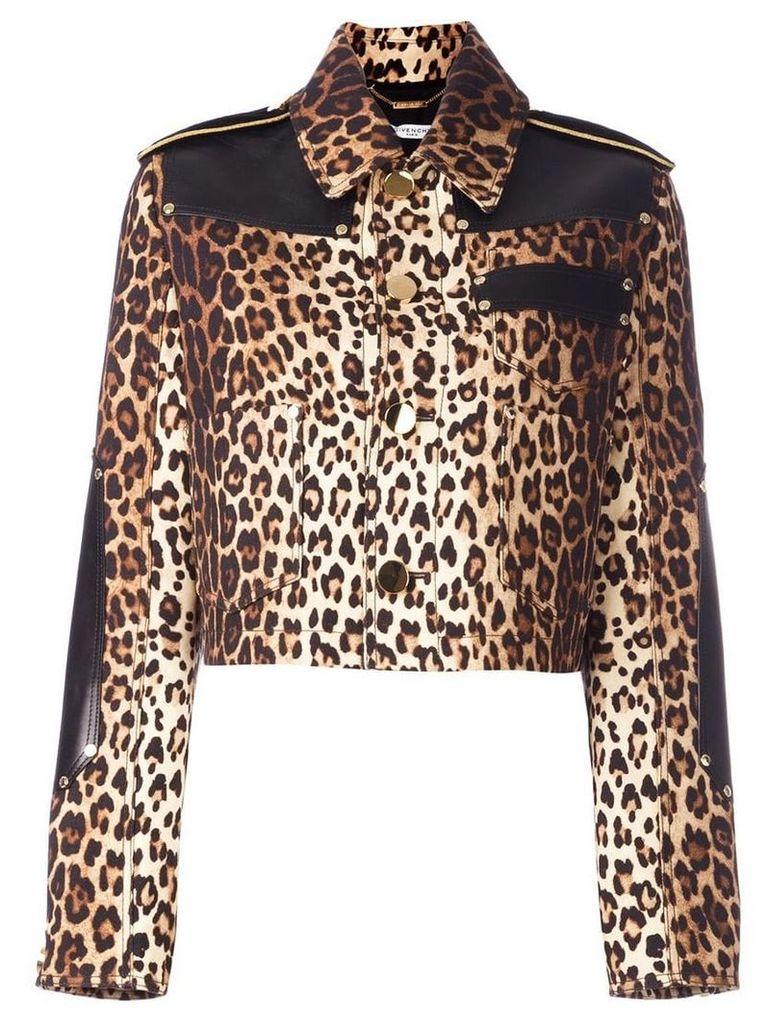 Givenchy leopard print grain de poudre jacket - Neutrals