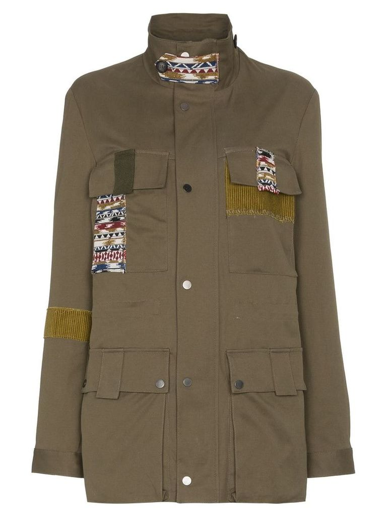 78 Stitches Military jacket with patches - Green