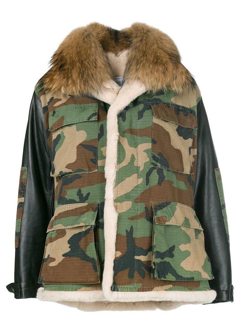 Forte Dei Marmi Couture camouflage fur collar jacket - Green
