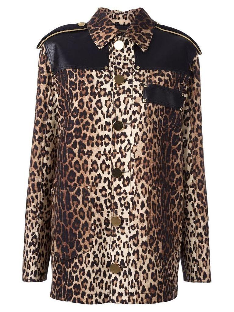Givenchy leopard print grain de poudre jacket - Brown