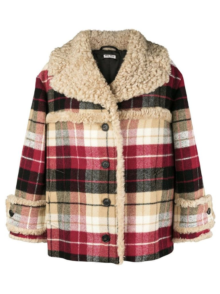 Miu Miu checked print oversized jacket - Neutrals