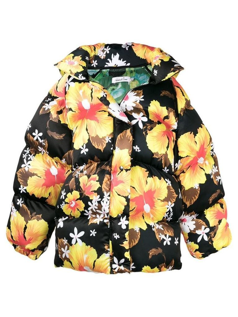 Richard Quinn oversized floral print padded jacket - Black