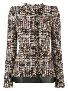 Alexander McQueen leather trimmed fitted tweed jacket - Multicolour