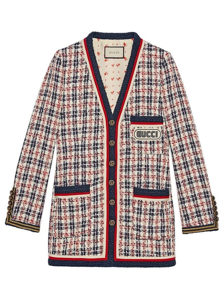 Gucci Check jacket with Gucci patch - White