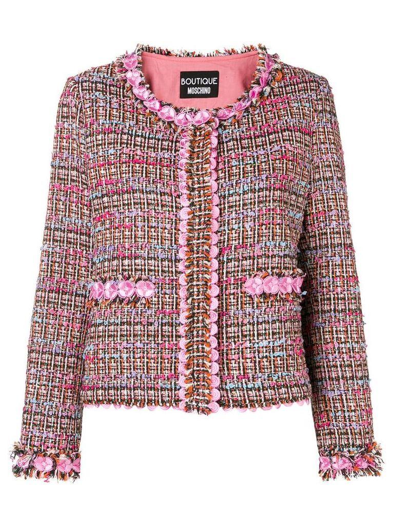 Boutique Moschino flower tweed jacket - Pink