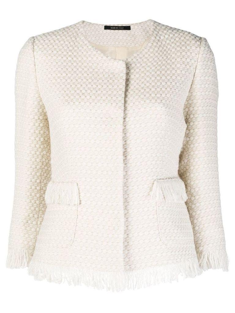 Tagliatore tweed fringed jacket - White