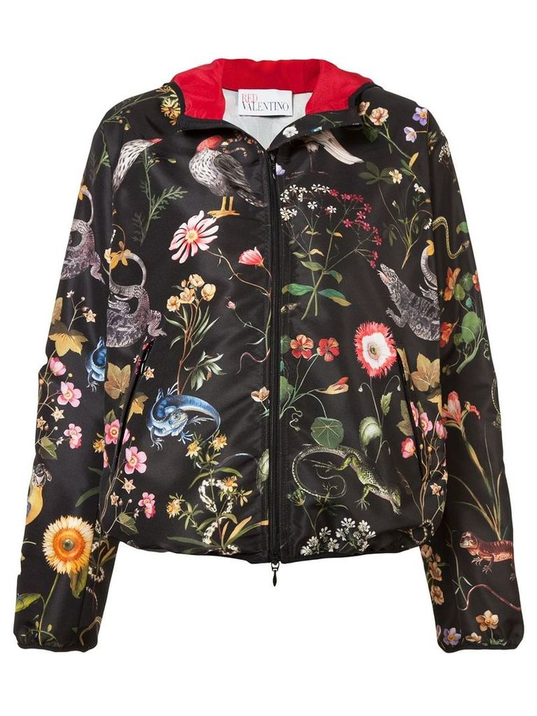 Red Valentino birds print hooded jacket - Black