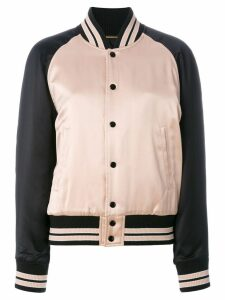 Saint Laurent striped trim bomber jacket - Pink