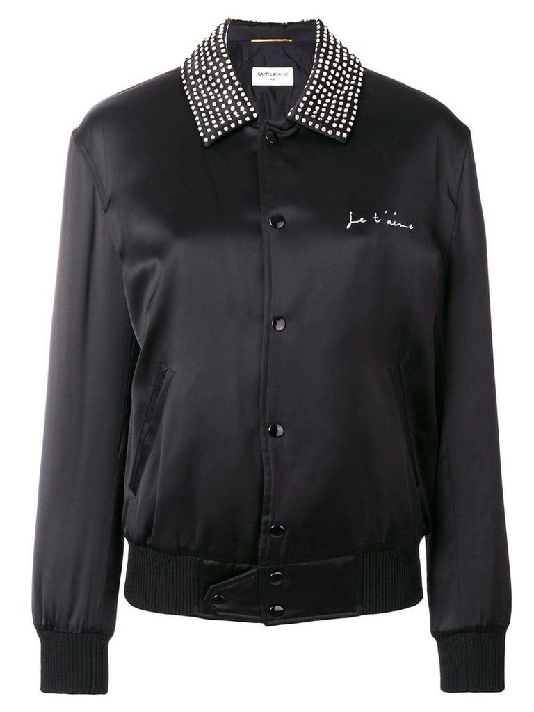 Saint Laurent satin teddy bomber jacket - Black