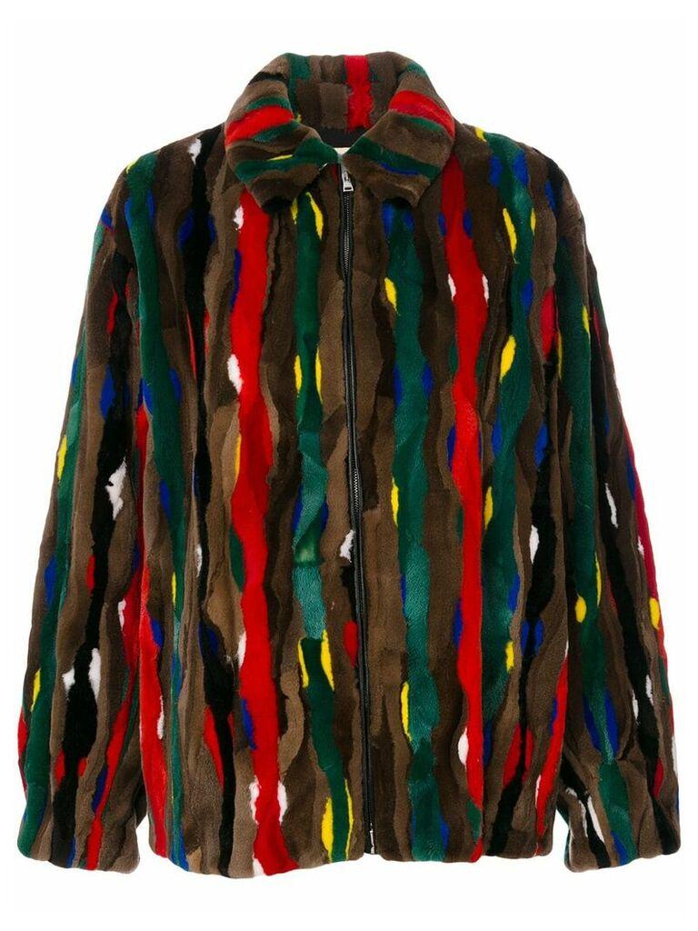 Marni stripe patch fur bomber jacket - Brown