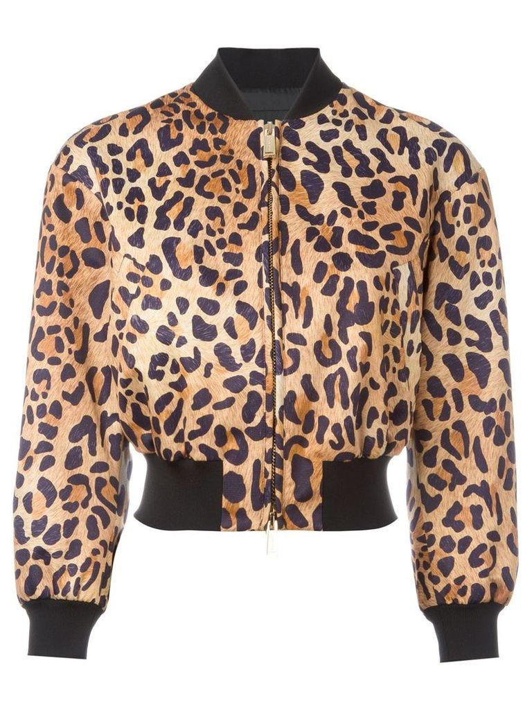 Dsquared2 leopard print bomber jacket - Brown