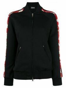 Alexander McQueen floral trim bomber jacket - Black