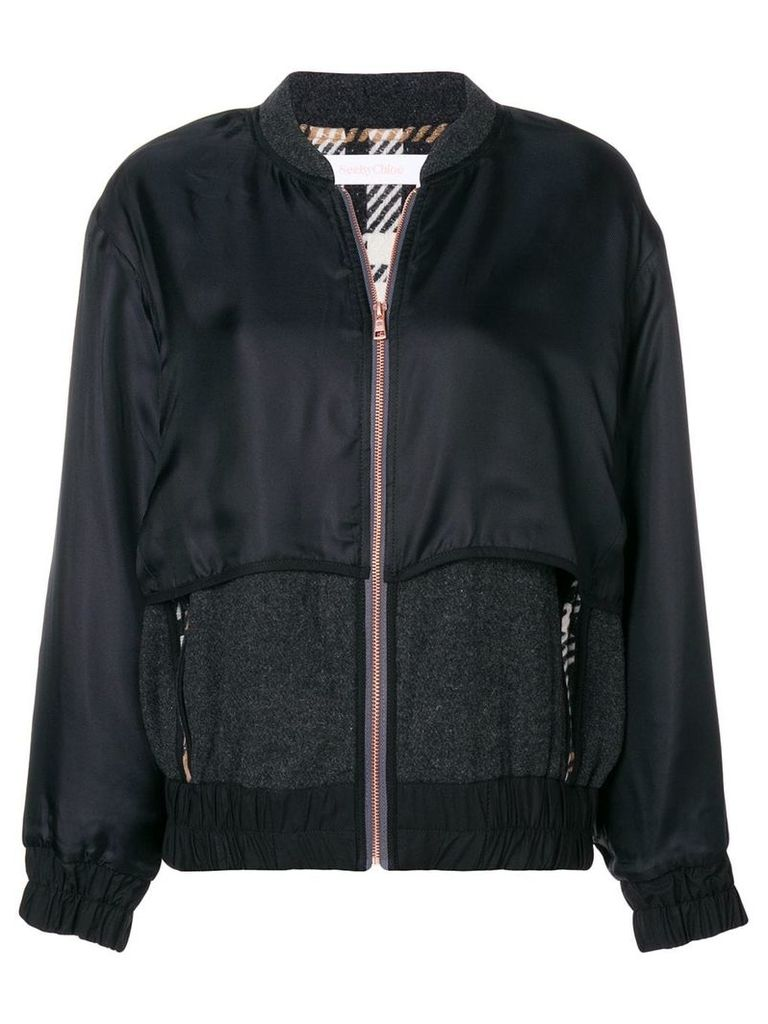 See By Chloé contrast bomber jacket - Black