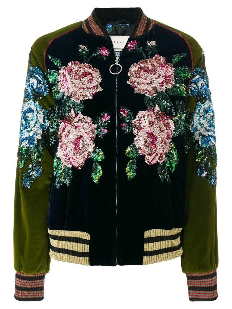 Gucci sequin floral detailed bomber jacket - Blue