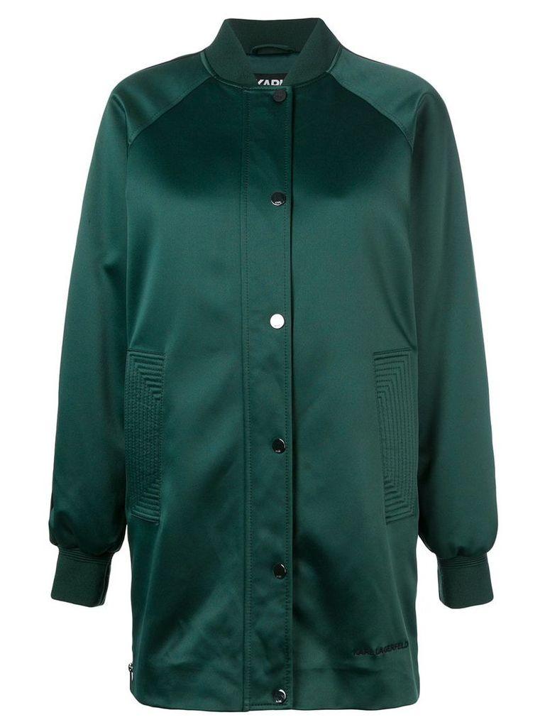 Karl Lagerfeld long line bomber jacket - Green
