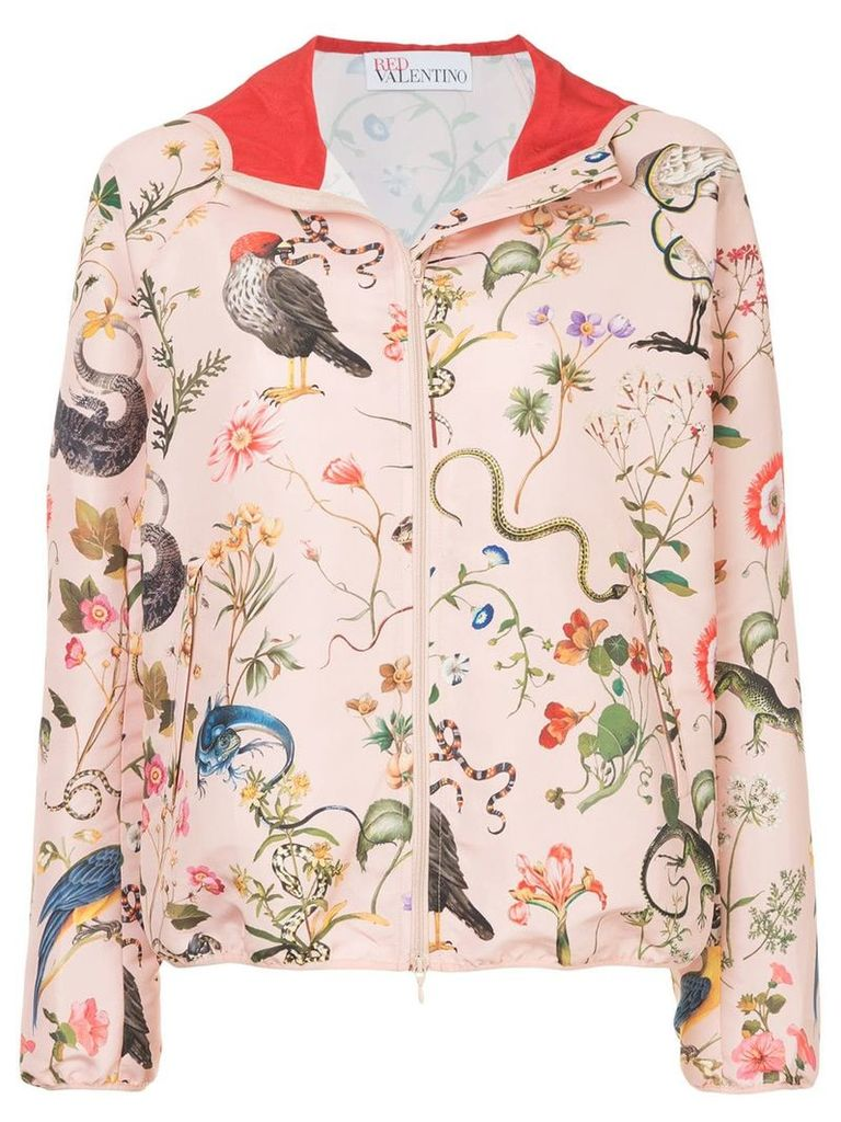 Red Valentino flora and fauna print hooded jacket - Pink
