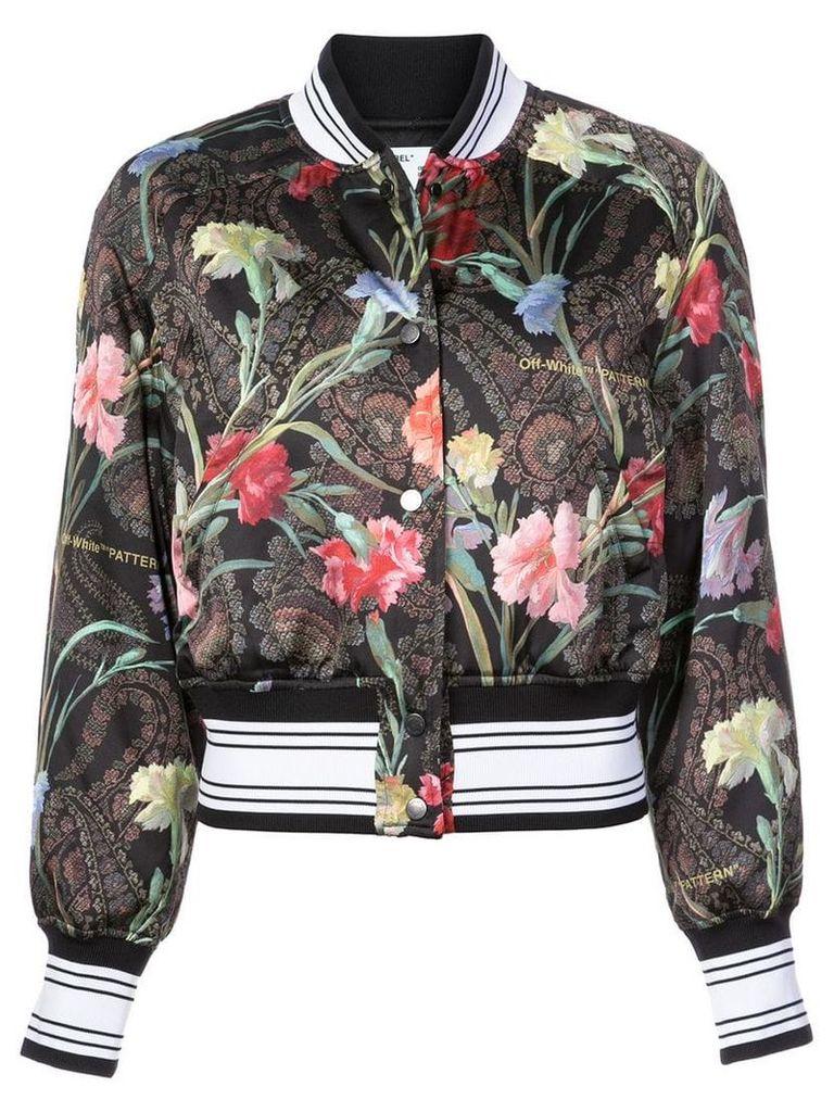 Off-White floral bomber jacket - Black