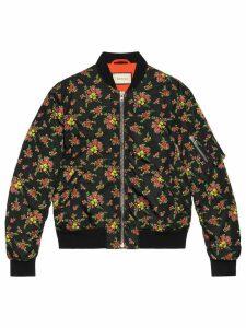 Gucci Floral bouquets nylon jacket - Black