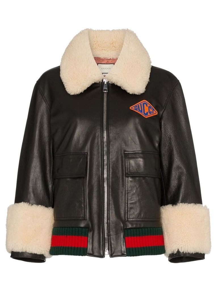 Gucci logo patch shearling trim leather bomber jacket - Black