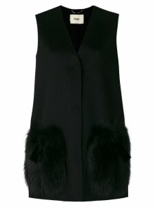 Fendi fur-patch tailored waistcoat - Black