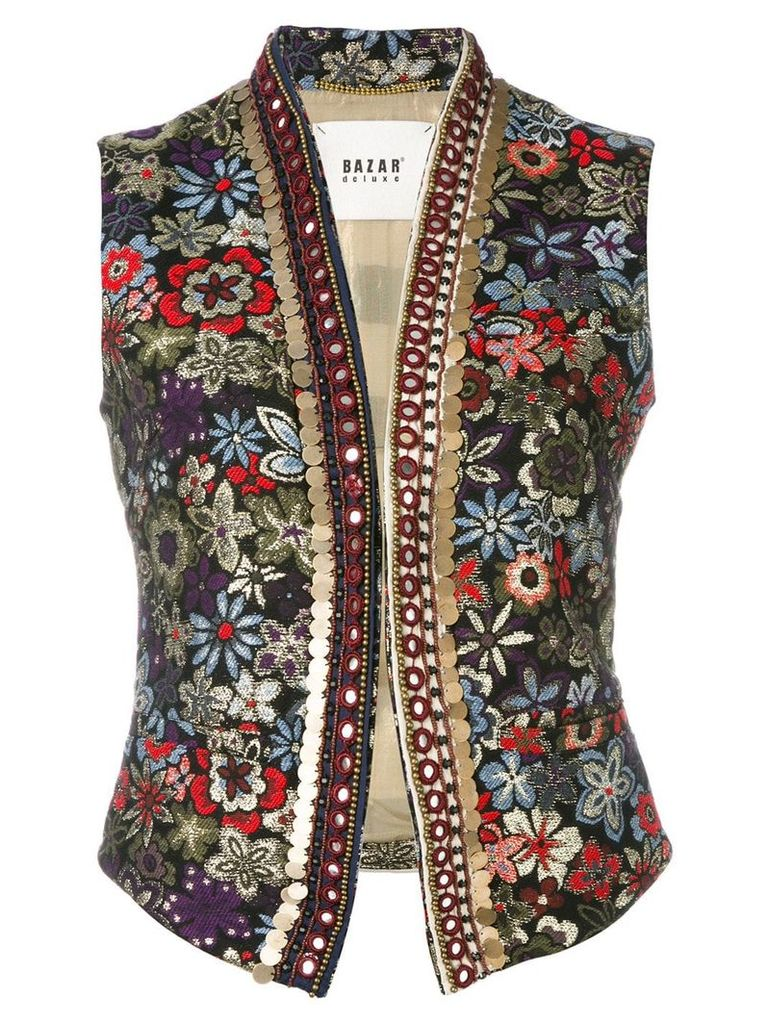 Bazar Deluxe floral embroidery gilet - Black